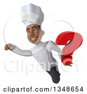Clipart Of A 3d Young Black Male Chef Holding A Question Mark And Flying Royalty Free Illustration