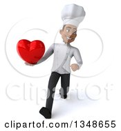 Clipart Of A 3d Young Black Male Chef Holding A Heart And Speed Walking Royalty Free Illustration
