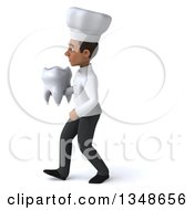 Clipart Of A 3d Young Black Male Chef Holding A Tooth And Walking To The Left Royalty Free Illustration