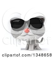 Clipart Of A 3d White And Gray Kitten Wearing Sunglasses By A Sign Royalty Free Illustration