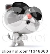Clipart Of A 3d White And Gray Kitten Wearing Sunglasses And Standing On His Hind Legs Royalty Free Illustration