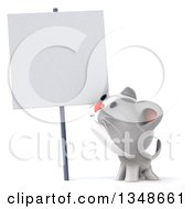 Clipart Of A 3d White And Gray Kitten Looking Up At A Blank Sign Royalty Free Illustration