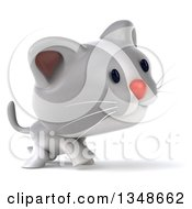 Clipart Of A 3d White And Gray Kitten Walking To The Right Royalty Free Illustration
