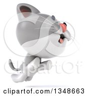 Clipart Of A 3d White And Gray Kitten Facing Right And Jumping Royalty Free Illustration