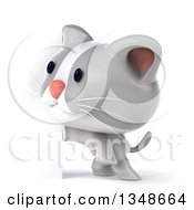Clipart Of A 3d White And Gray Kitten By A Sign Royalty Free Illustration