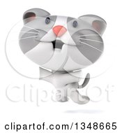 Clipart Of A 3d White And Gray Kitten Jumping Royalty Free Illustration