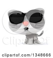 Clipart Of A 3d White And Gray Kitten Wearing Sunglasses Royalty Free Illustration