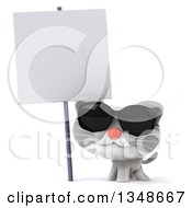 Clipart Of A 3d White And Gray Kitten Wearing Sunglasses Under A Blank Sign Royalty Free Illustration