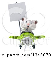 Clipart Of A 3d White Kitten Aviator Pilot Holding A Blank Sign And Flying A Green Airplane Royalty Free Illustration