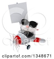 Clipart Of A 3d White Kitten Aviator Pilot Wearing Sunglasses Holding A Blank Sign And Flying A White And Red Airplane To The Left Royalty Free Illustration
