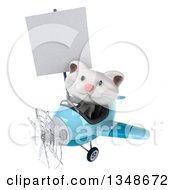 Clipart Of A 3d White Kitten Aviator Pilot Holding A Blank Sign And Flying A Blue Airplane To The Left Royalty Free Illustration
