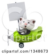 Clipart Of A 3d White Kitten Aviator Pilot Holding A Blank Sign And Flying A Green Airplane To The Left Royalty Free Illustration