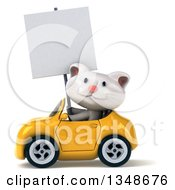 Clipart Of A 3d White Kitten Holding A Blank Sign And Driving A Yellow Convertible Car To The Left Royalty Free Illustration