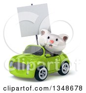 Clipart Of A 3d White Kitten Holding A Blank Sign And Driving A Green Convertible Car To The Left Royalty Free Illustration
