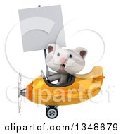 Clipart Of A 3d White Kitten Aviator Pilot Holding A Blank Sign And Flying A Yellow Airplane To The Left Royalty Free Illustration