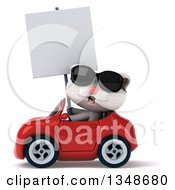 Clipart Of A 3d White Kitten Wearing Sunglasses Holding A Blank Sign And Driving A Red Convertible Car To The Left Royalty Free Illustration