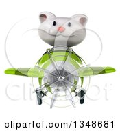 3d White Kitten Aviator Pilot Flying A Green Airplane