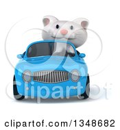 3d White Kitten Driving A Blue Convertible Car