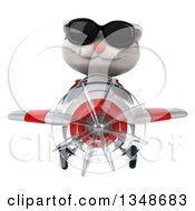 Clipart Of A 3d White Kitten Aviator Pilot Wearing Sunglasses And Flying A White And Red Airplane Royalty Free Illustration