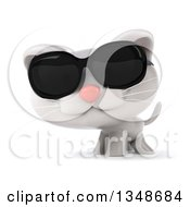 3d White Kitten Wearing Sunglasses