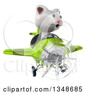 Clipart Of A 3d White Kitten Aviator Pilot Flying A Green Airplane Royalty Free Illustration