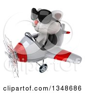 Clipart Of A 3d White Kitten Aviator Pilot Wearing Sunglasses And Flying A White And Red Airplane To The Left Royalty Free Illustration