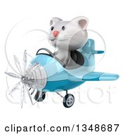 Clipart Of A 3d White Kitten Aviator Pilot Flying A Blue Airplane To The Left Royalty Free Illustration