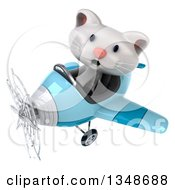 Clipart Of A 3d White Kitten Aviator Pilot Flying A Blue Airplane To The Left Royalty Free Illustration by Julos