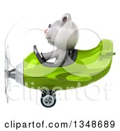 Clipart Of A 3d White Kitten Aviator Pilot Flying A Green Airplane To The Left Royalty Free Illustration by Julos