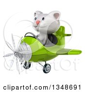 Clipart Of A 3d White Kitten Aviator Pilot Flying A Green Airplane To The Left Royalty Free Illustration