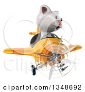 Clipart Of A 3d White Kitten Aviator Pilot Flying A Yellow Airplane Royalty Free Illustration by Julos