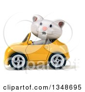 Clipart Of A 3d White Kitten Driving A Yellow Convertible Car To The Left Royalty Free Illustration by Julos