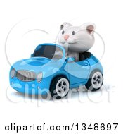 Clipart Of A 3d White Kitten Driving A Blue Convertible Car To The Left Royalty Free Illustration by Julos