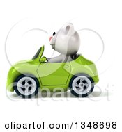 Clipart Of A 3d White Kitten Driving A Green Convertible Car To The Left Royalty Free Illustration by Julos