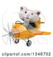 Clipart Of A 3d White Kitten Aviator Pilot Flying A Yellow Airplane To The Left Royalty Free Illustration by Julos