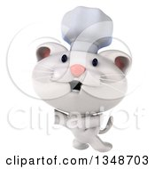 Clipart Of A 3d White Chef Kitten Jumping Royalty Free Illustration by Julos