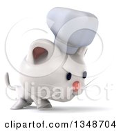 Clipart Of A 3d White Chef Kitten Walking To The Right Royalty Free Illustration by Julos