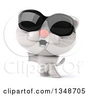 Clipart Of A 3d White Kitten Wearing Sunglasses And Standing On His Hind Legs Royalty Free Illustration by Julos