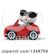 Clipart Of A 3d White Kitten Wearing Sunglasses And Driving A Red Convertible Car To The Left Royalty Free Illustration by Julos