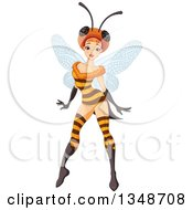 Clipart Of A Sexy Fairy Posing In A Bee Costume Royalty Free Vector Illustration