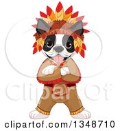 Cartoon Cute Native American Indian Boston Terrier Dog