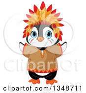 Clipart Of A Cartoon Cute Native American Indian Penguin Royalty Free Vector Illustration