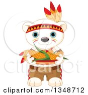 Clipart Of A Cartoon Cute Native American Indian Polar Bear Cub Carrying Corn Royalty Free Vector Illustration by Pushkin