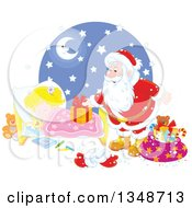 Clipart Of A Caucasian Girl Sleeping While Santa Sets A Gift On Her Bed Royalty Free Vector Illustration