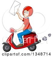 Cartoon Caucasian Delivery Man Holding Up An Envelope And Driving A Scooter