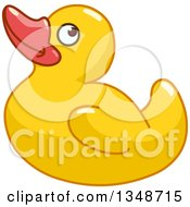 Clipart Of A Cartoon Yellow Rubber Ducky Royalty Free Vector Illustration