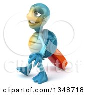 3d Happy Blue Tortoise Turtle Traveler Walking To The Left With Rolling Luggage