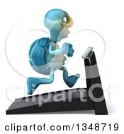 Clipart Of A 3d Happy Blue Tortoise Turtle Running On A A Treadmill Royalty Free Illustration