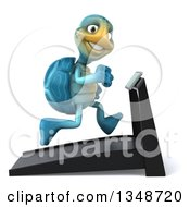 Clipart Of A 3d Happy Blue Tortoise Turtle Running On A A Treadmill Royalty Free Illustration by Julos