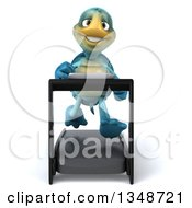 3d Happy Blue Tortoise Turtle Running On A A Treadmill